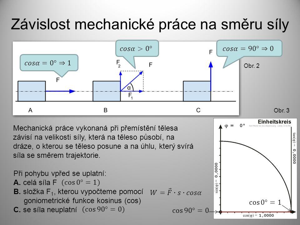 Závislost mechanické práce na směru síly Při pohybu vpřed se uplatní: A.
