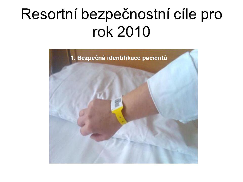 Resortní bezpečnostní cíle pro rok 2010 1. Bezpečná identifikace pacientů