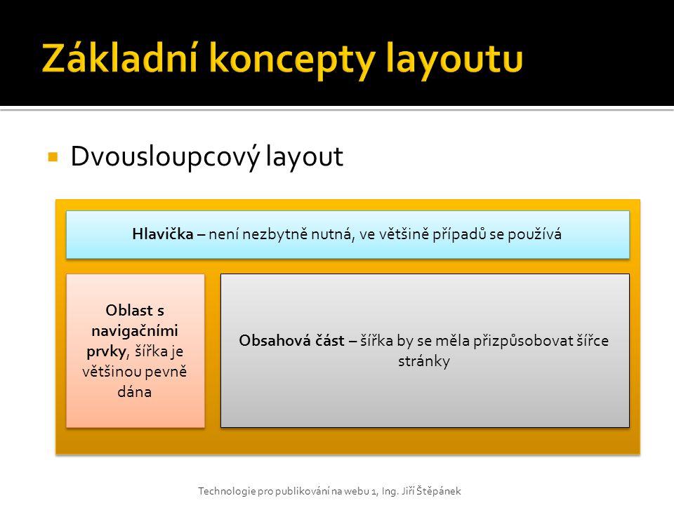  Dvousloupcový layout Technologie pro publikování na webu 1, Ing. Jiří Štěpánek Hlavička – není nezbytně nutná, ve většině případů se používá Oblast