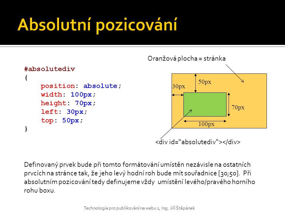 30px 50px 100px 70px #absolutediv { position: absolute; width: 100px; height: 70px; left: 30px; top: 50px; } Oranžová plocha = stránka Definovaný prve