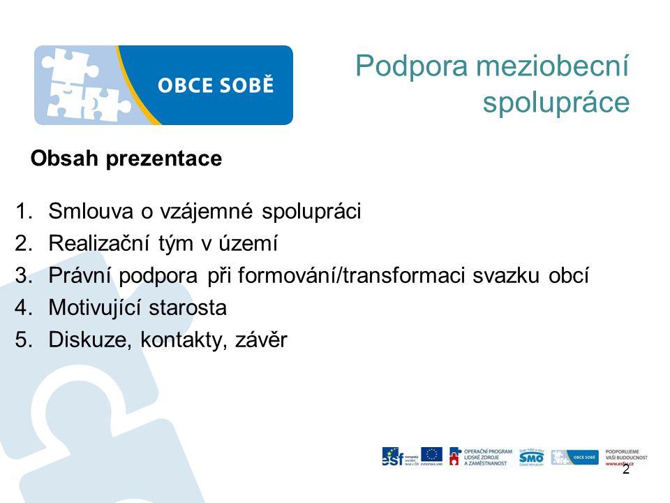 Podpora meziobecní spolupráce 1.Smlouva o vzájemné spolupráci 2.Realizační tým v území 3.Právní podpora při formování/transformaci svazku obcí 4.Motiv