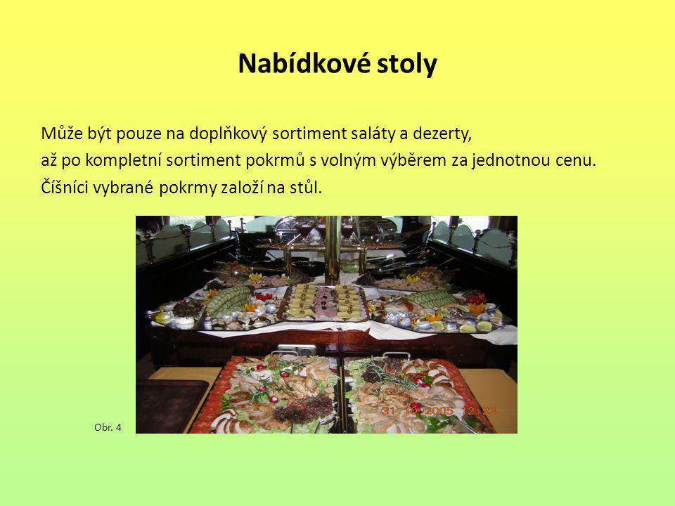 Nabídkové stoly Může být pouze na doplňkový sortiment saláty a dezerty, až po kompletní sortiment pokrmů s volným výběrem za jednotnou cenu. Číšníci v