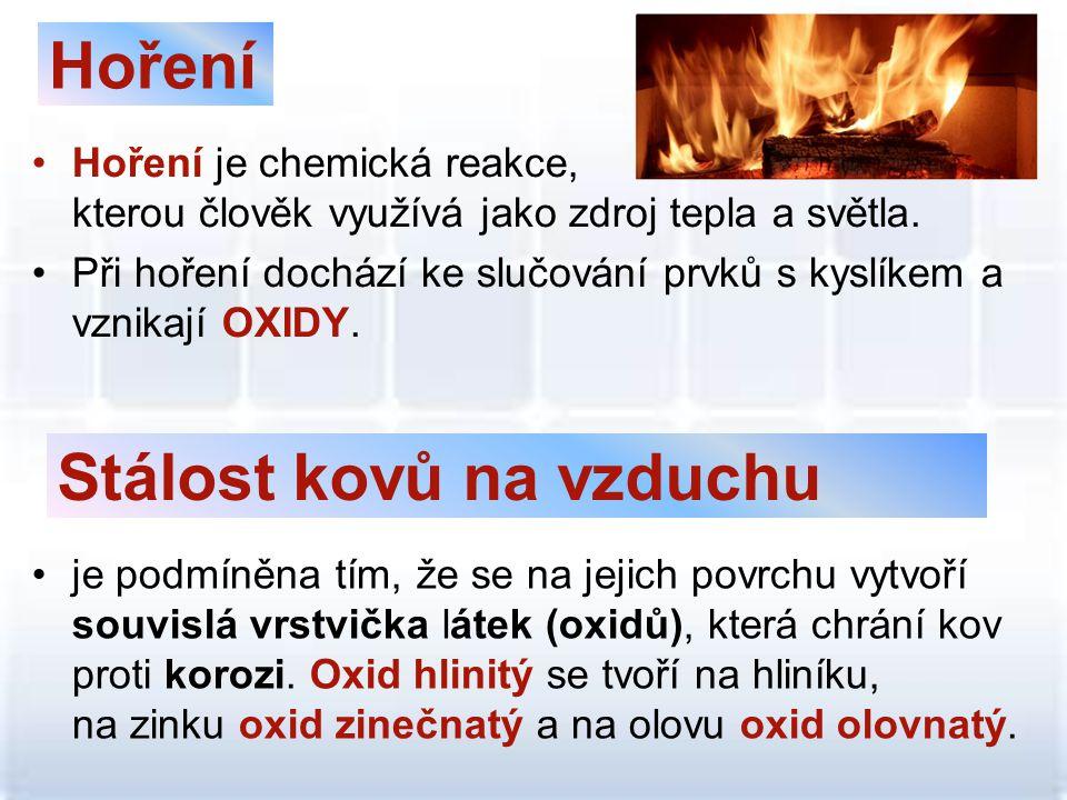 Hoření •Hoření je chemická reakce, kterou člověk využívá jako zdroj tepla a světla. •Při hoření dochází ke slučování prvků s kyslíkem a vznikají OXIDY