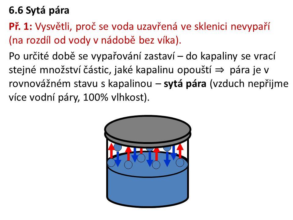 6.6 Sytá pára Př. 1: Vysvětli, proč se voda uzavřená ve sklenici nevypaří (na rozdíl od vody v nádobě bez víka). Po určité době se vypařování zastaví