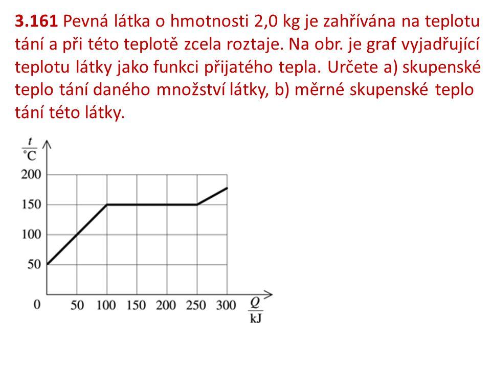 3.161 Pevná látka o hmotnosti 2,0 kg je zahřívána na teplotu tání a při této teplotě zcela roztaje. Na obr. je graf vyjadřující teplotu látky jako fun