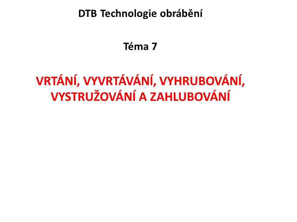 DTB Technologie obrábění Téma 7 VRTÁNÍ, VYVRTÁVÁNÍ, VYHRUBOVÁNÍ, VYSTRUŽOVÁNÍ A ZAHLUBOVÁNÍ
