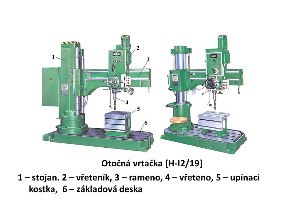 Otočná vrtačka [H-I2/19] 1 – stojan. 2 – vřeteník, 3 – rameno, 4 – vřeteno, 5 – upínací kostka, 6 – základová deska