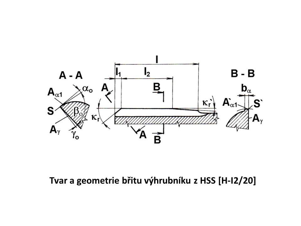 Tvar a geometrie břitu výhrubníku z HSS [H-I2/20]