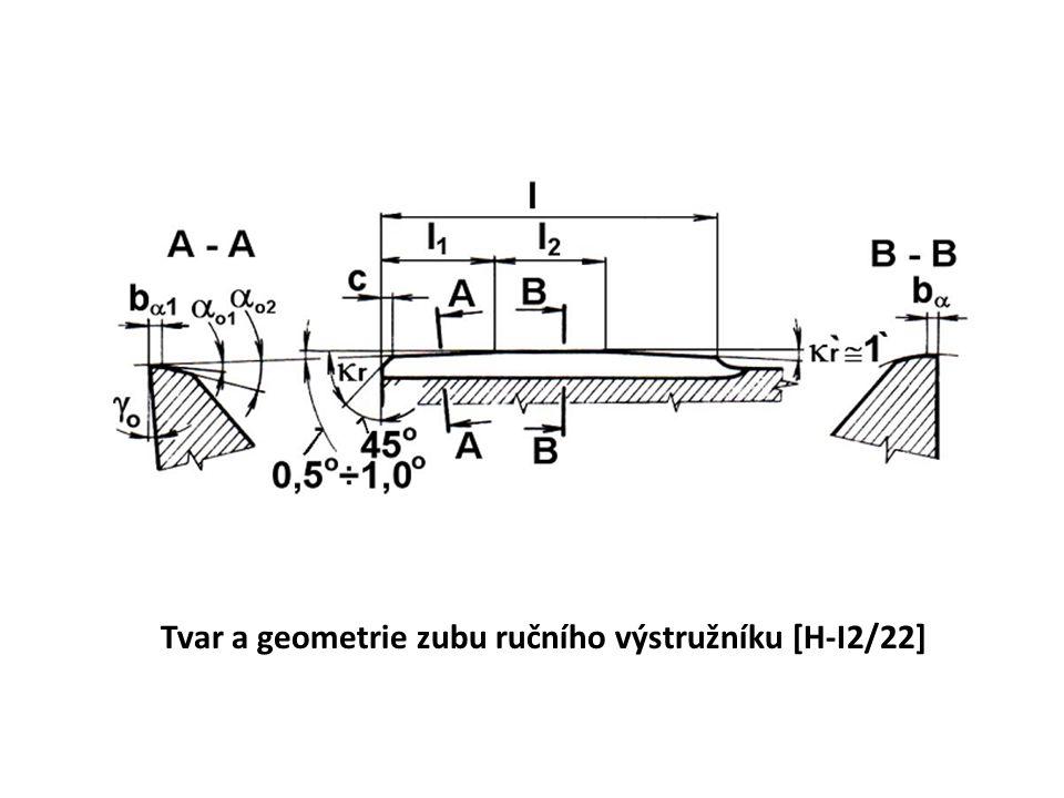 Tvar a geometrie zubu ručního výstružníku [H-I2/22]