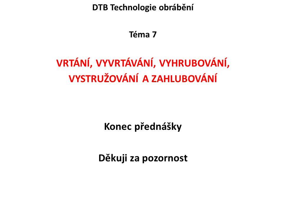 DTB Technologie obrábění Téma 7 VRTÁNÍ, VYVRTÁVÁNÍ, VYHRUBOVÁNÍ, VYSTRUŽOVÁNÍ A ZAHLUBOVÁNÍ Konec přednášky Děkuji za pozornost