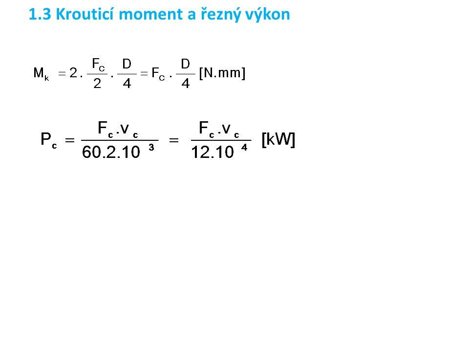 1.4 Jednotkový strojní čas při vrtání šroubovitým vrtákem Dráha nástroje ve směru posuvu při vrtání šroubovitým vrtákem [H-I2/8, KP/144]