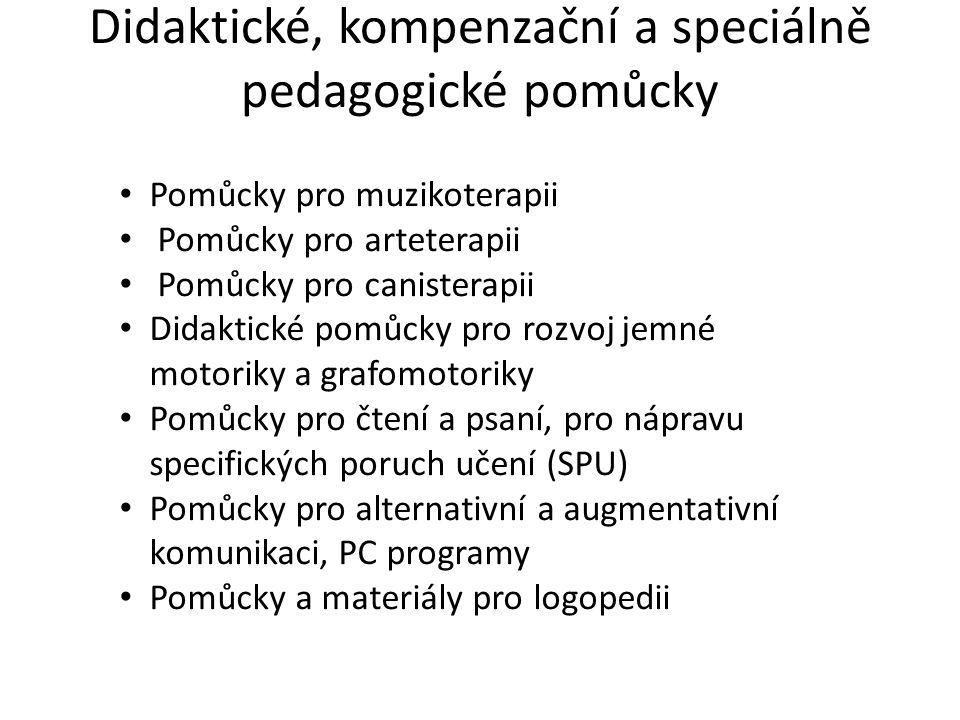 Didaktické, kompenzační a speciálně pedagogické pomůcky • Pomůcky pro muzikoterapii • Pomůcky pro arteterapii • Pomůcky pro canisterapii • Didaktické pomůcky pro rozvoj jemné motoriky a grafomotoriky • Pomůcky pro čtení a psaní, pro nápravu specifických poruch učení (SPU) • Pomůcky pro alternativní a augmentativní komunikaci, PC programy • Pomůcky a materiály pro logopedii
