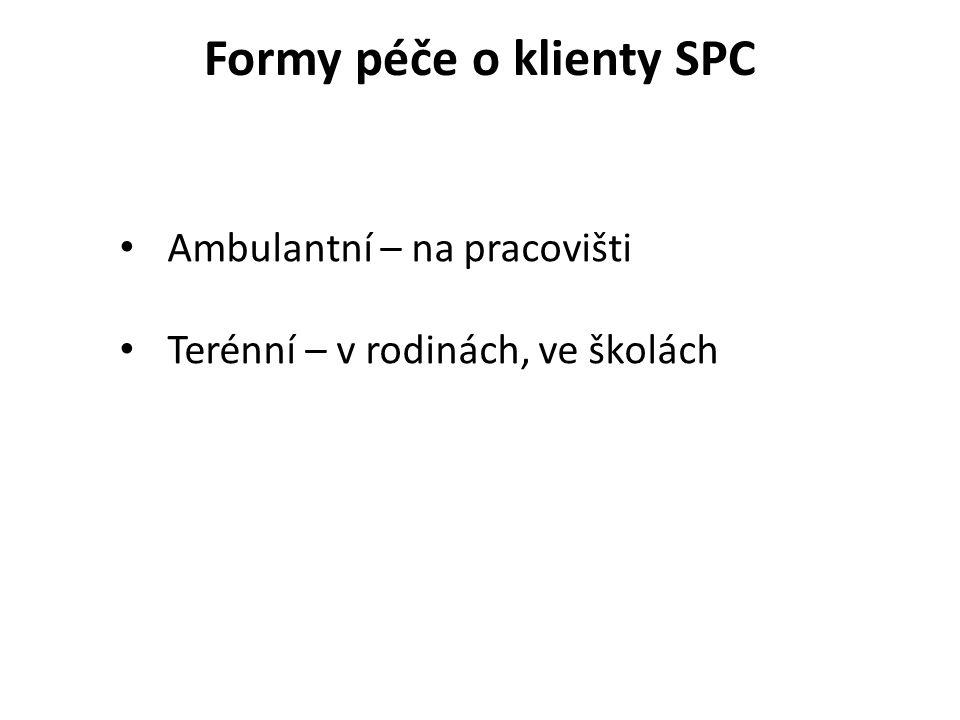 Formy péče o klienty SPC • Ambulantní – na pracovišti • Terénní – v rodinách, ve školách