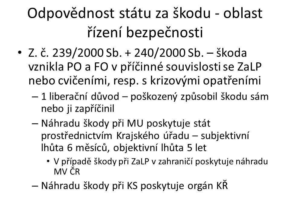 Odpovědnost státu za škodu - oblast řízení bezpečnosti • Z. č. 239/2000 Sb. + 240/2000 Sb. – škoda vznikla PO a FO v příčinné souvislosti se ZaLP nebo