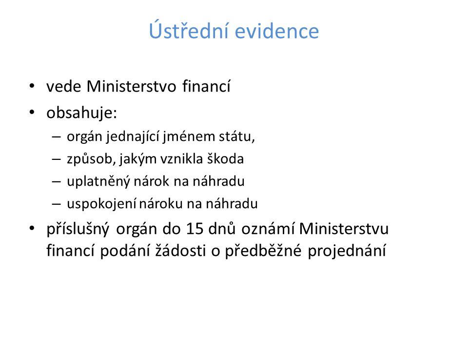 Ústřední evidence • vede Ministerstvo financí • obsahuje: – orgán jednající jménem státu, – způsob, jakým vznikla škoda – uplatněný nárok na náhradu –