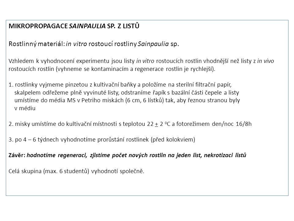 MIKROPROPAGACE SAINPAULIA SP.Z LISTŮ Rostlinný materiál: in vitro rostoucí rostliny Sainpaulia sp.