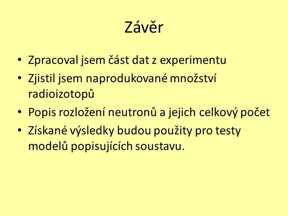 Závěr • Zpracoval jsem část dat z experimentu • Zjistil jsem naprodukované množství radioizotopů • Popis rozložení neutronů a jejich celkový počet • Z