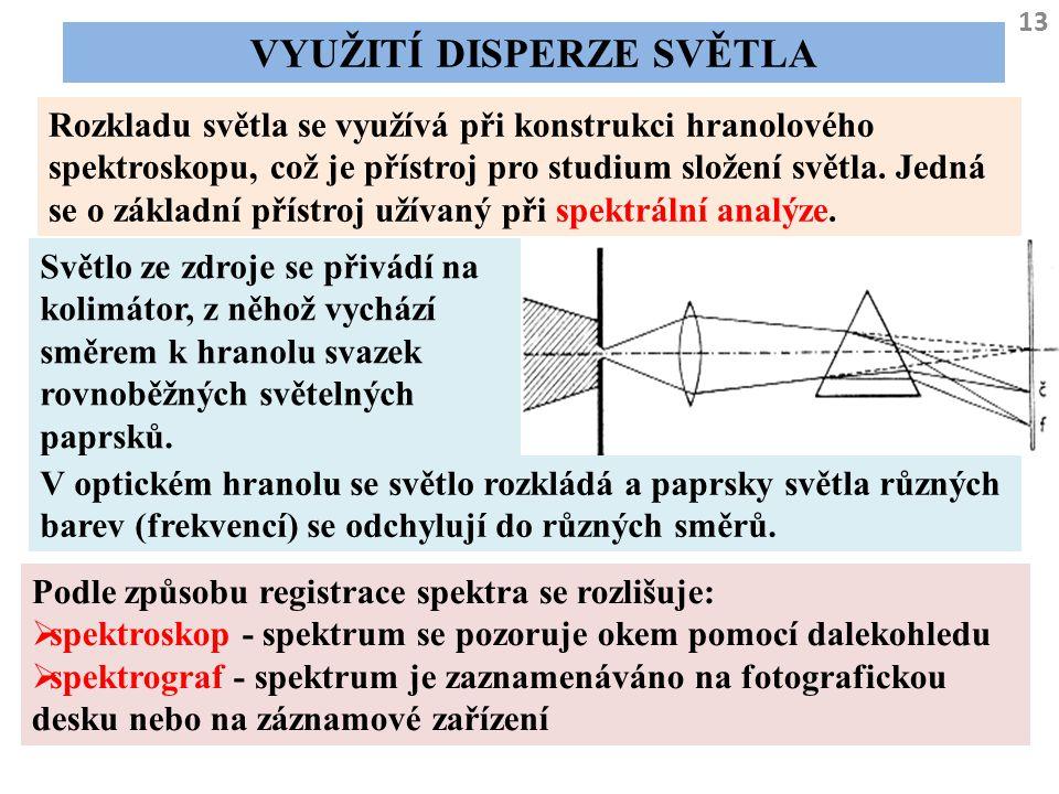 13 VYUŽITÍ DISPERZE SVĚTLA Rozkladu světla se využívá při konstrukci hranolového spektroskopu, což je přístroj pro studium složení světla. Jedná se o