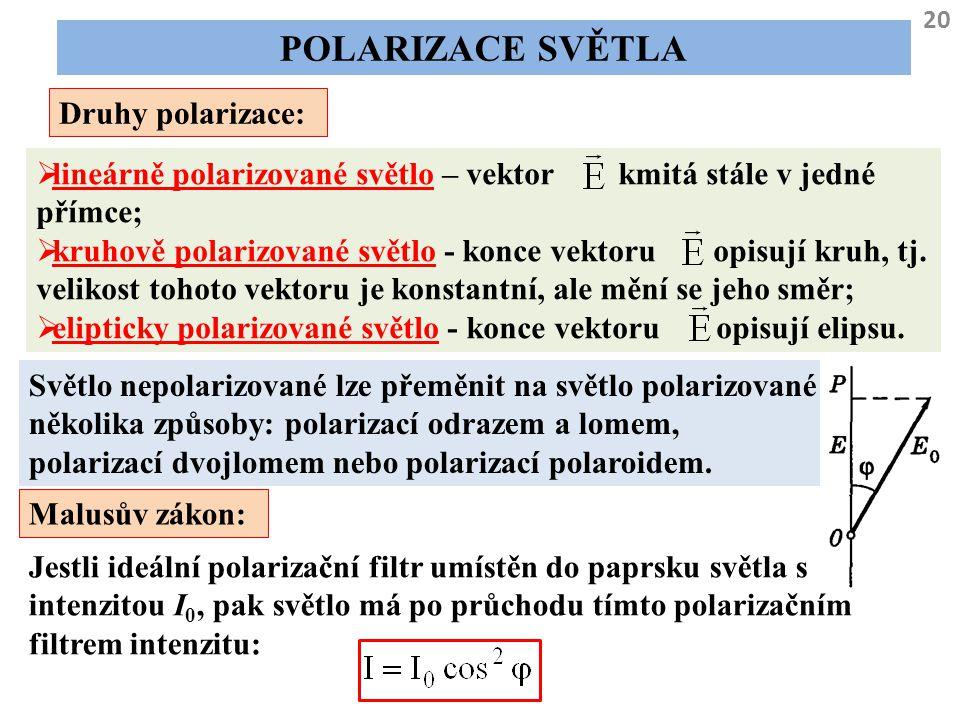 20 POLARIZACE SVĚTLA Druhy polarizace:  lineárně polarizované světlo – vektor kmitá stále v jedné přímce;  kruhově polarizované světlo - konce vekto