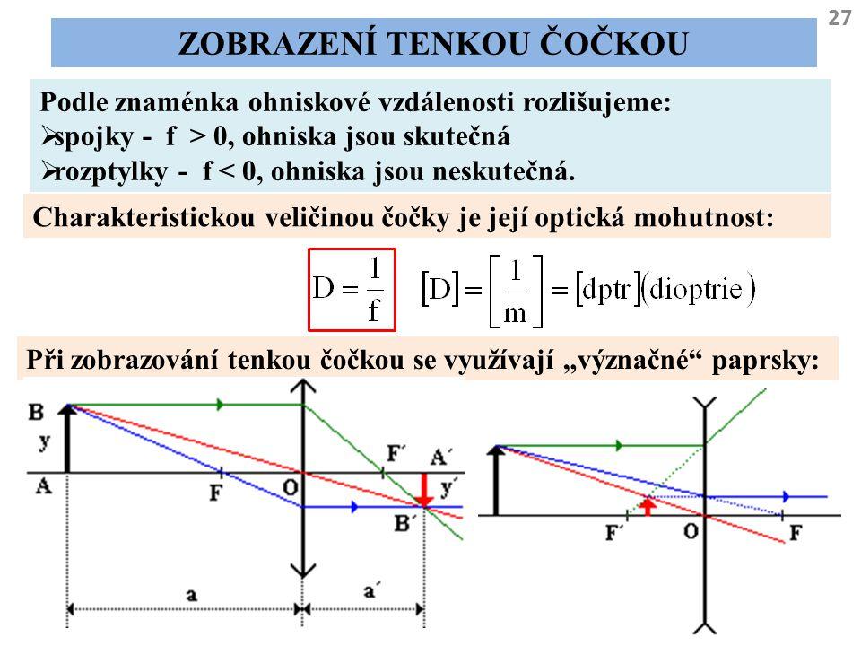 27 ZOBRAZENÍ TENKOU ČOČKOU Podle znaménka ohniskové vzdálenosti rozlišujeme:  spojky - f > 0, ohniska jsou skutečná  rozptylky - f < 0, ohniska jsou