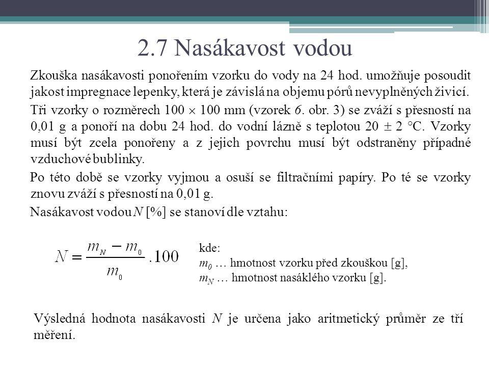 2.7 Nasákavost vodou Zkouška nasákavosti ponořením vzorku do vody na 24 hod. umožňuje posoudit jakost impregnace lepenky, která je závislá na objemu p
