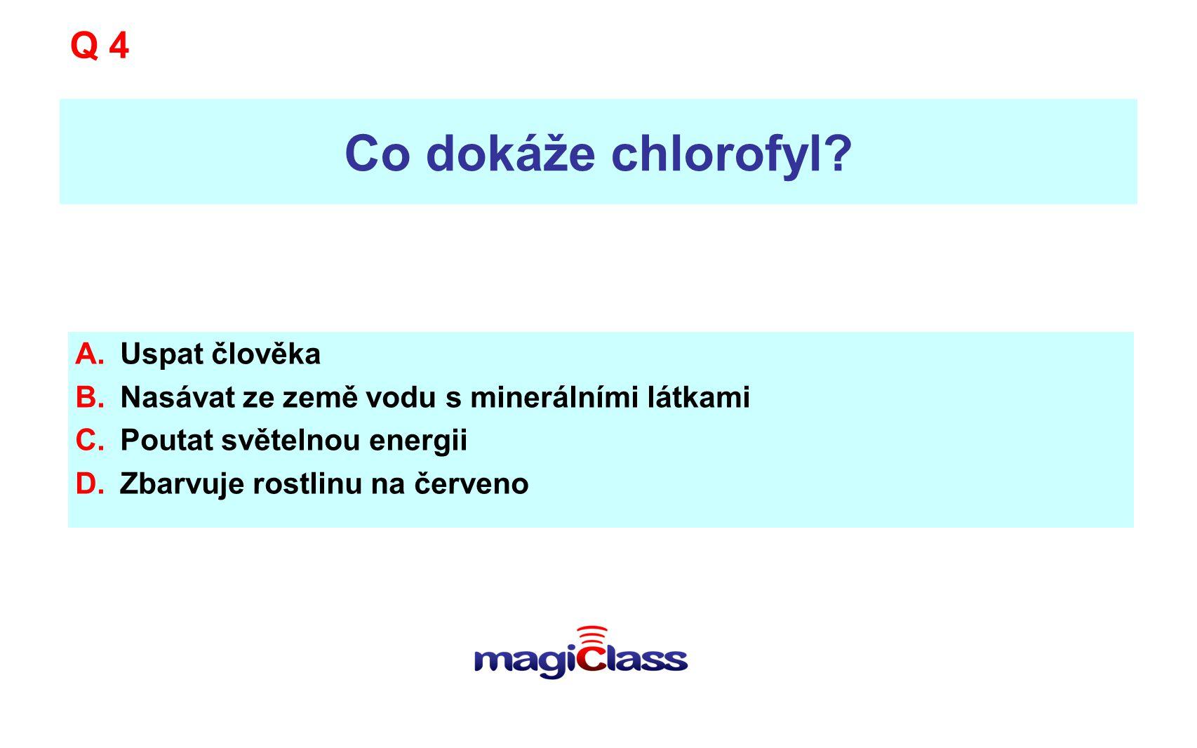 Co dokáže chlorofyl? A.Uspat člověka B.Nasávat ze země vodu s minerálními látkami C.Poutat světelnou energii D.Zbarvuje rostlinu na červeno Q 4