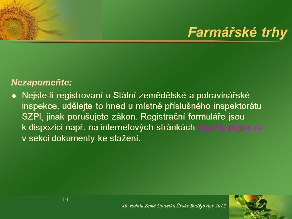 Jaké prohřešky jsou z hlediska SPZI na farmářských tržištích nejčastější.