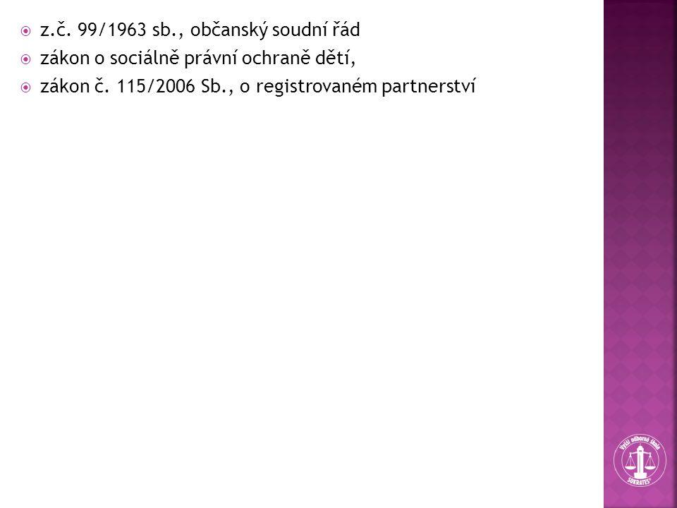  z.č. 99/1963 sb., občanský soudní řád  zákon o sociálně právní ochraně dětí,  zákon č. 115/2006 Sb., o registrovaném partnerství