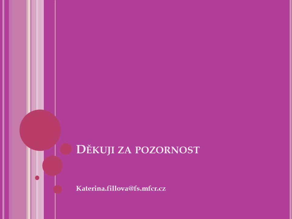 D ĚKUJI ZA POZORNOST Katerina.fillova@fs.mfcr.cz