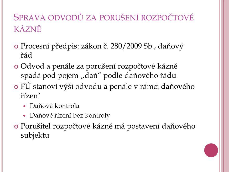 S PRÁVA ODVODŮ ZA PORUŠENÍ ROZPOČTOVÉ KÁZNĚ Procesní předpis: zákon č. 280/2009 Sb., daňový řád Odvod a penále za porušení rozpočtové kázně spadá pod