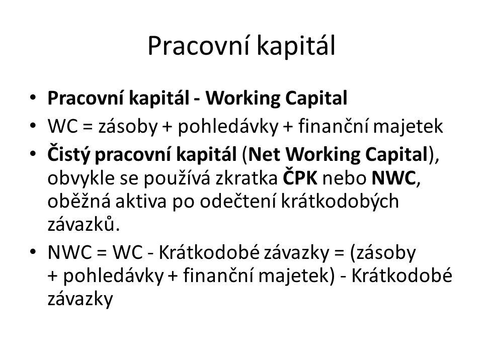 Pracovní kapitál • Pracovní kapitál - Working Capital • WC = zásoby + pohledávky + finanční majetek • Čistý pracovní kapitál (Net Working Capital), ob