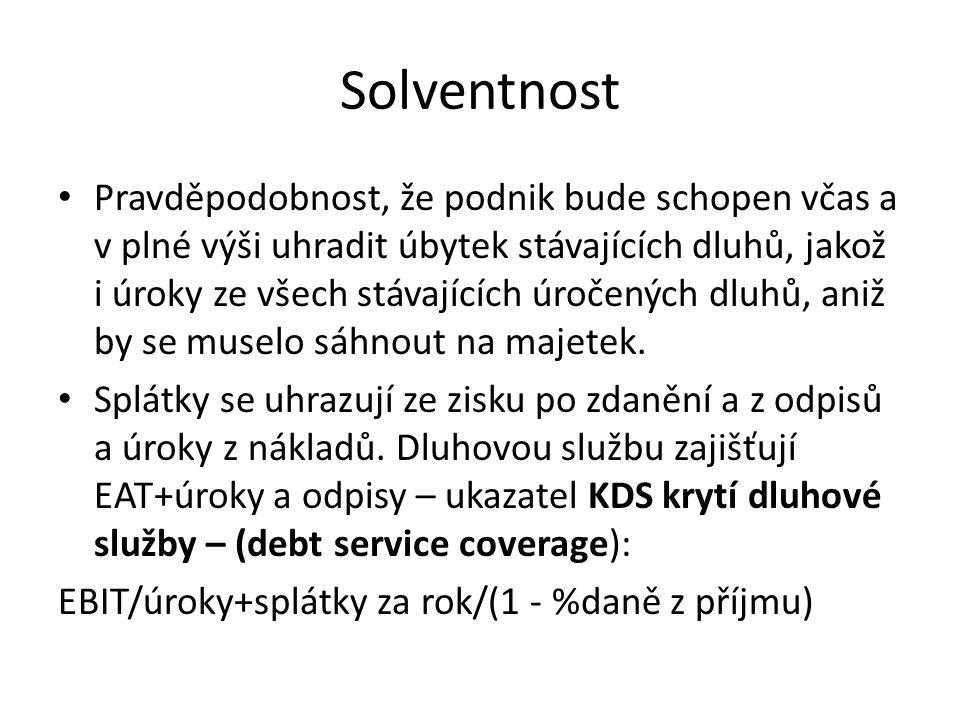 Solventnost • Pravděpodobnost, že podnik bude schopen včas a v plné výši uhradit úbytek stávajících dluhů, jakož i úroky ze všech stávajících úročenýc