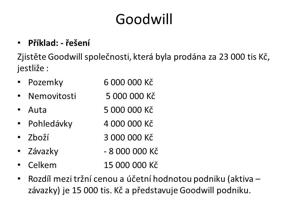 Goodwill • Příklad: - řešení Zjistěte Goodwill společnosti, která byla prodána za 23 000 tis Kč, jestliže : • Pozemky 6 000 000 Kč • Nemovitosti 5 000