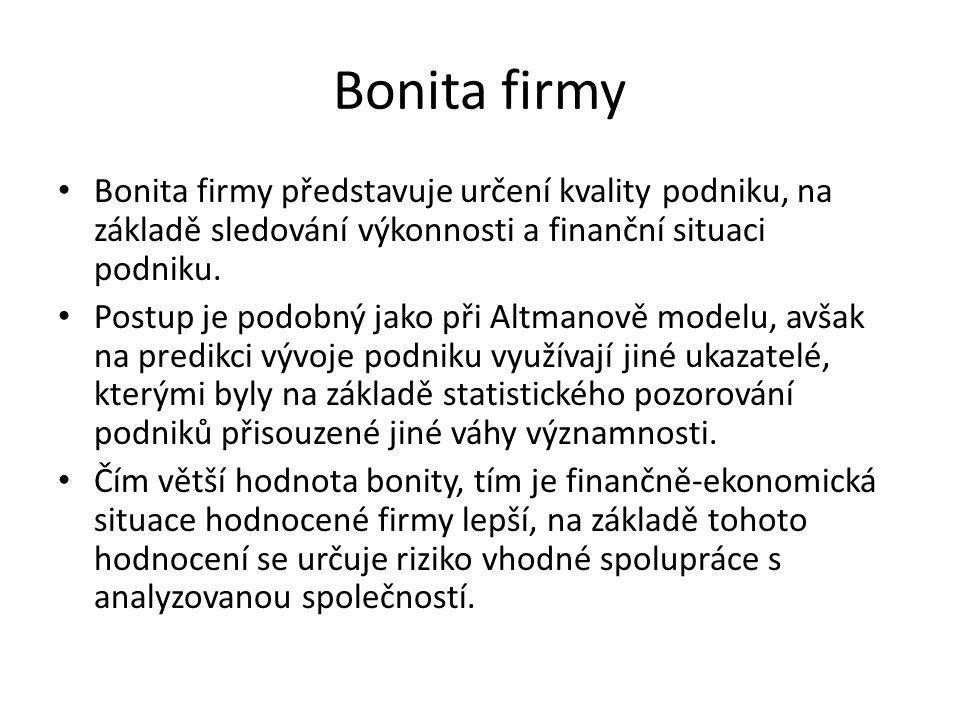 Bonita firmy • Bonita firmy představuje určení kvality podniku, na základě sledování výkonnosti a finanční situaci podniku. • Postup je podobný jako p