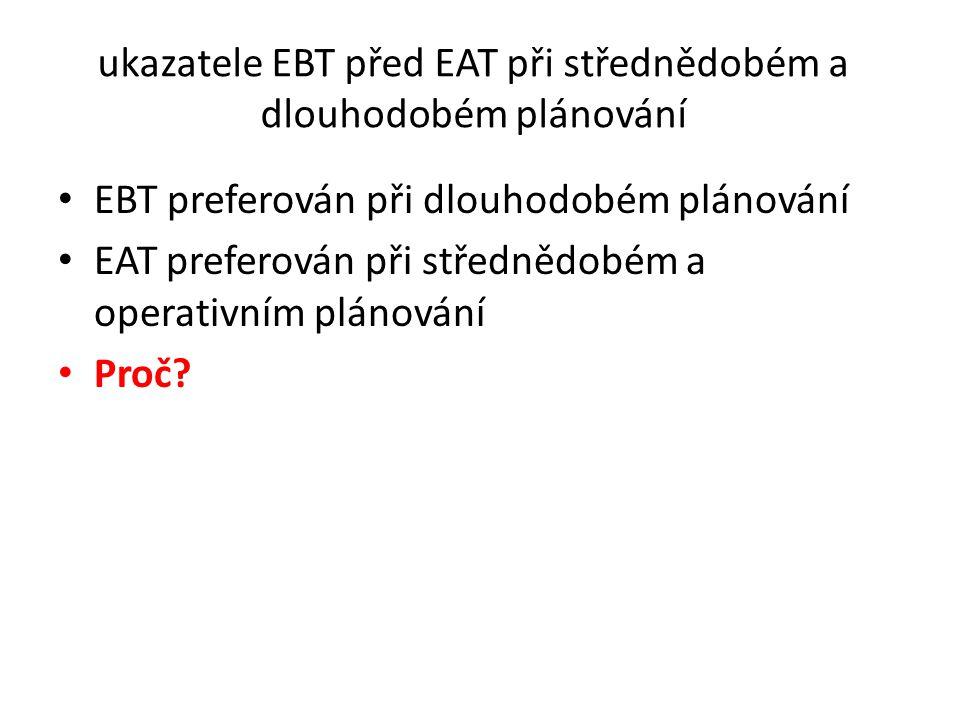 ukazatele EBT před EAT při střednědobém a dlouhodobém plánování • EBT preferován při dlouhodobém plánování • EAT preferován při střednědobém a operati