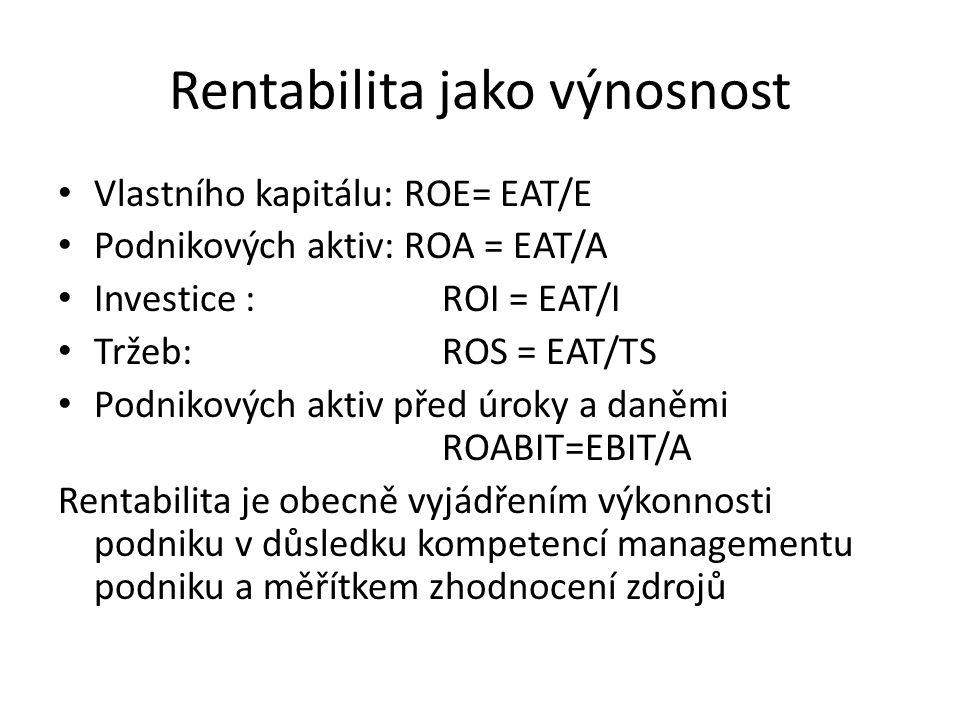 Rentabilita jako výnosnost • Vlastního kapitálu: ROE= EAT/E • Podnikových aktiv: ROA = EAT/A • Investice : ROI = EAT/I • Tržeb: ROS = EAT/TS • Podniko