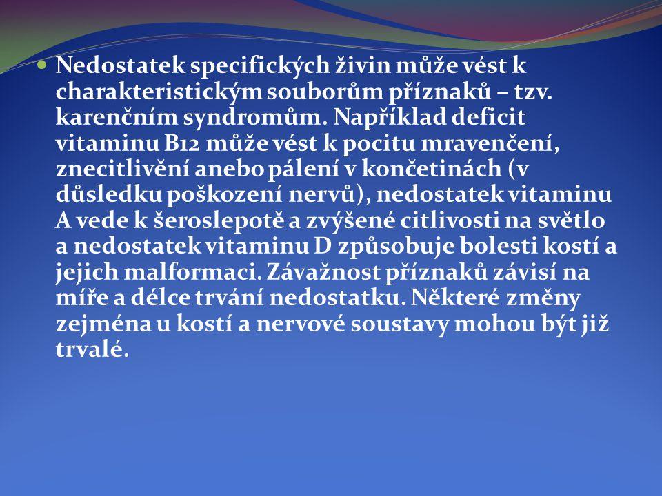  Nedostatek specifických živin může vést k charakteristickým souborům příznaků – tzv. karenčním syndromům. Například deficit vitaminu B12 může vést k