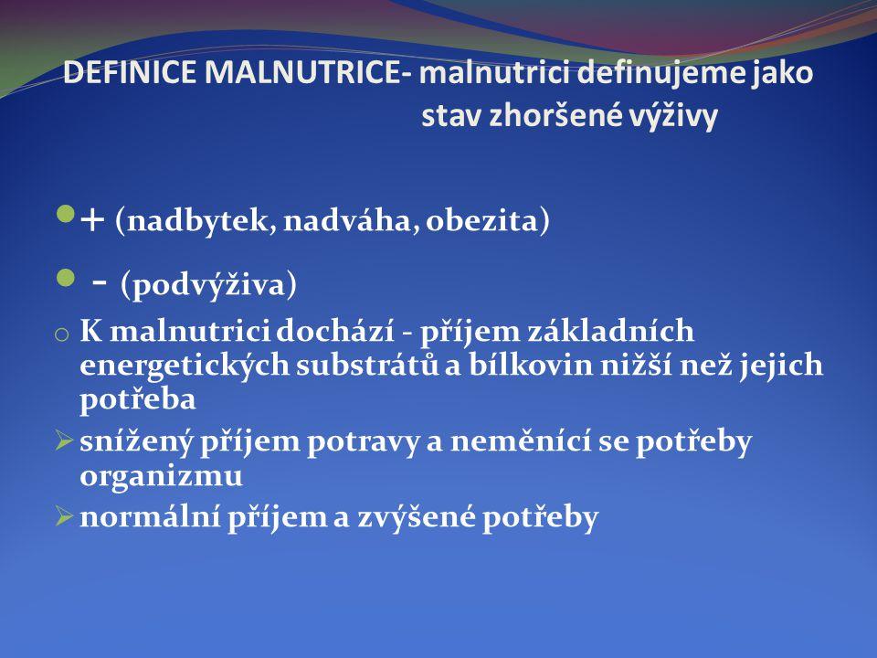 DEFINICE MALNUTRICE- malnutrici definujeme jako stav zhoršené výživy  + (nadbytek, nadváha, obezita)  - (podvýživa) o K malnutrici dochází - příjem