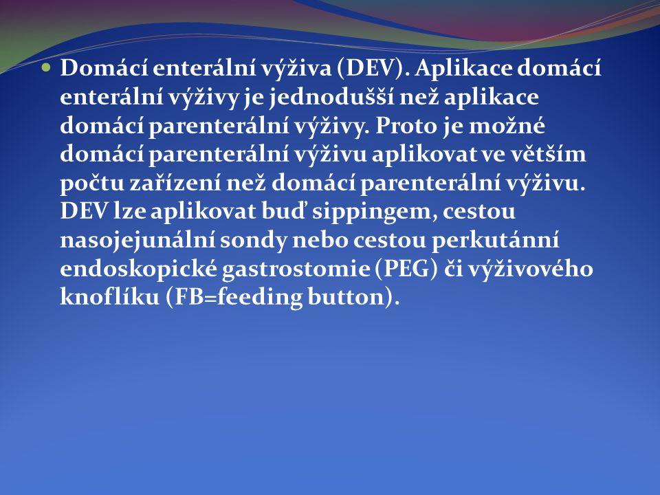  Domácí enterální výživa (DEV). Aplikace domácí enterální výživy je jednodušší než aplikace domácí parenterální výživy. Proto je možné domácí parente