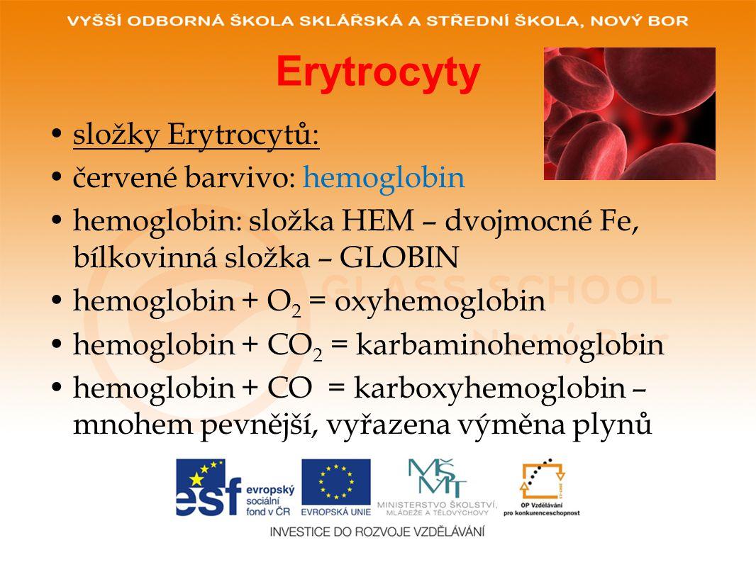 Erytrocyty •složky Erytrocytů: •červené barvivo: hemoglobin •hemoglobin: složka HEM – dvojmocné Fe, bílkovinná složka – GLOBIN •hemoglobin + O 2 = oxyhemoglobin •hemoglobin + CO 2 = karbaminohemoglobin •hemoglobin + CO = karboxyhemoglobin – mnohem pevnější, vyřazena výměna plynů