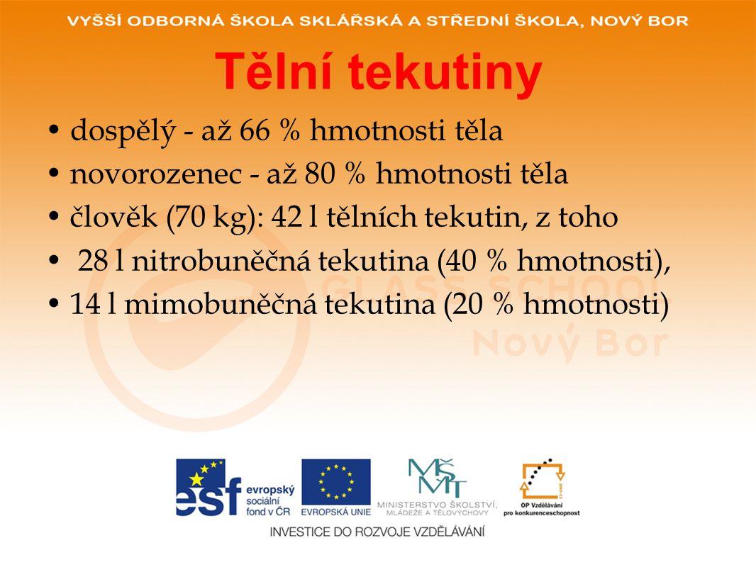 Tělní tekutiny •dospělý - až 66 % hmotnosti těla •novorozenec - až 80 % hmotnosti těla •člověk (70 kg): 42 l tělních tekutin, z toho • 28 l nitrobuněčná tekutina (40 % hmotnosti), •14 l mimobuněčná tekutina (20 % hmotnosti)