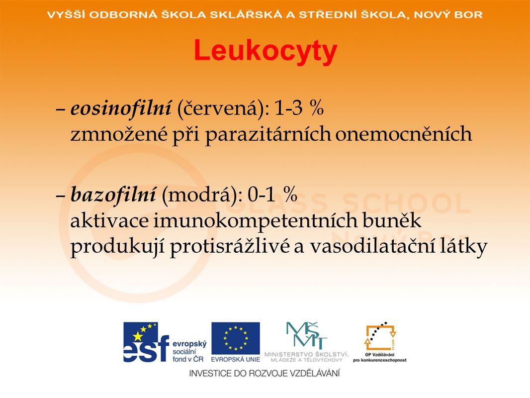 Leukocyty – eosinofilní (červená): 1-3 % zmnožené při parazitárních onemocněních – bazofilní (modrá): 0-1 % aktivace imunokompetentních buněk produkují protisrážlivé a vasodilatační látky