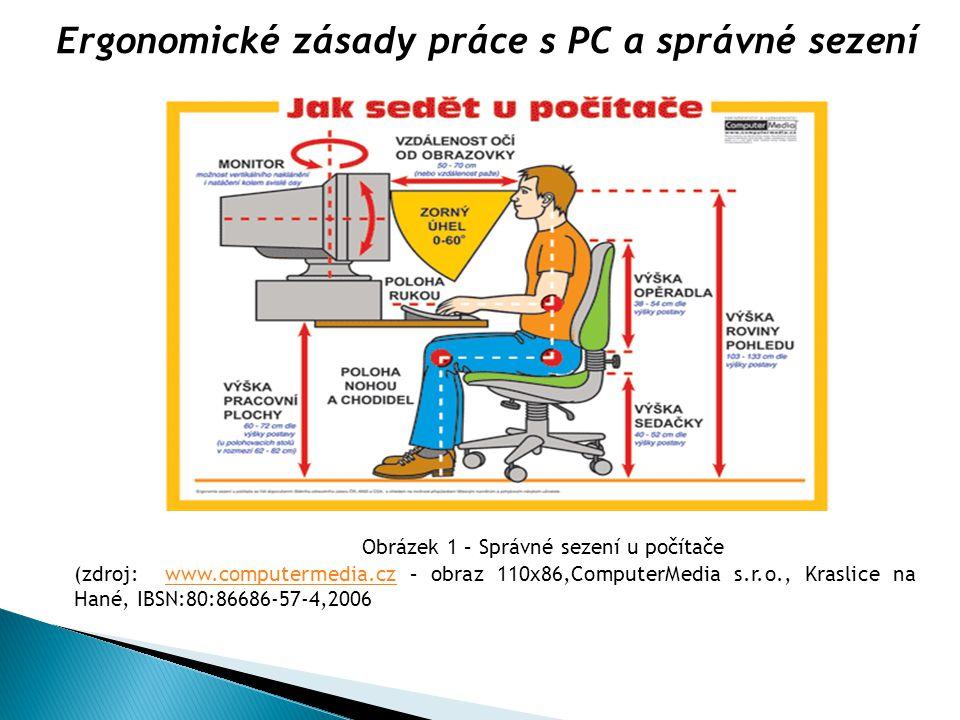Obrázek 1 – Správné sezení u počítače (zdroj: www.computermedia.cz – obraz 110x86,ComputerMedia s.r.o., Kraslice na Hané, IBSN:80:86686-57-4,2006www.c