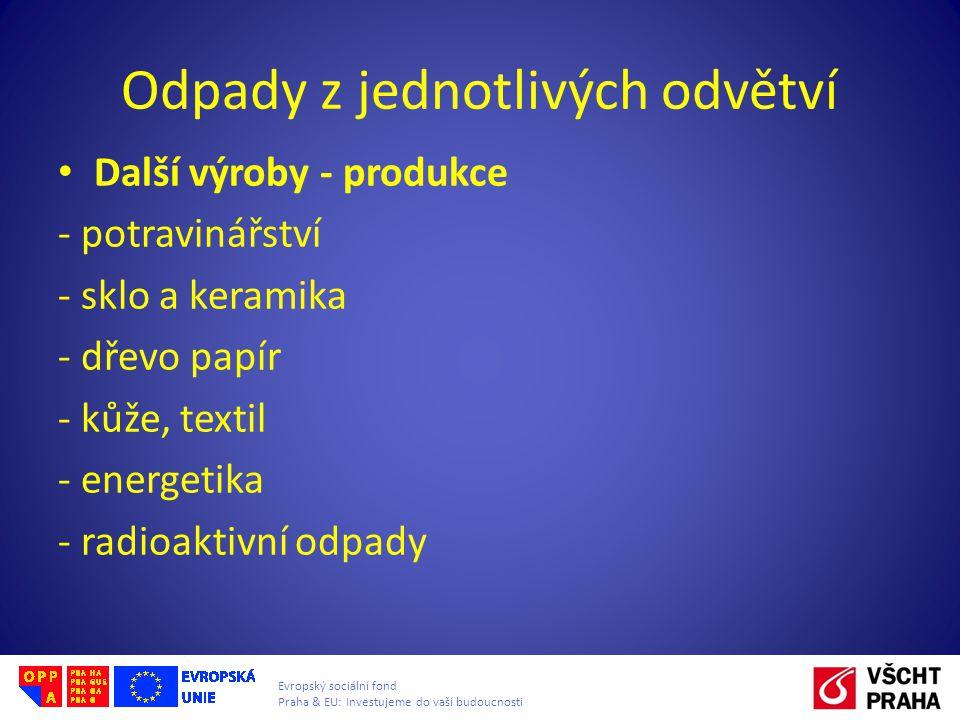 Evropský sociální fond Praha & EU: Investujeme do vaší budoucnosti Odpady z jednotlivých odvětví • Další výroby - produkce - potravinářství - sklo a keramika - dřevo papír - kůže, textil - energetika - radioaktivní odpady