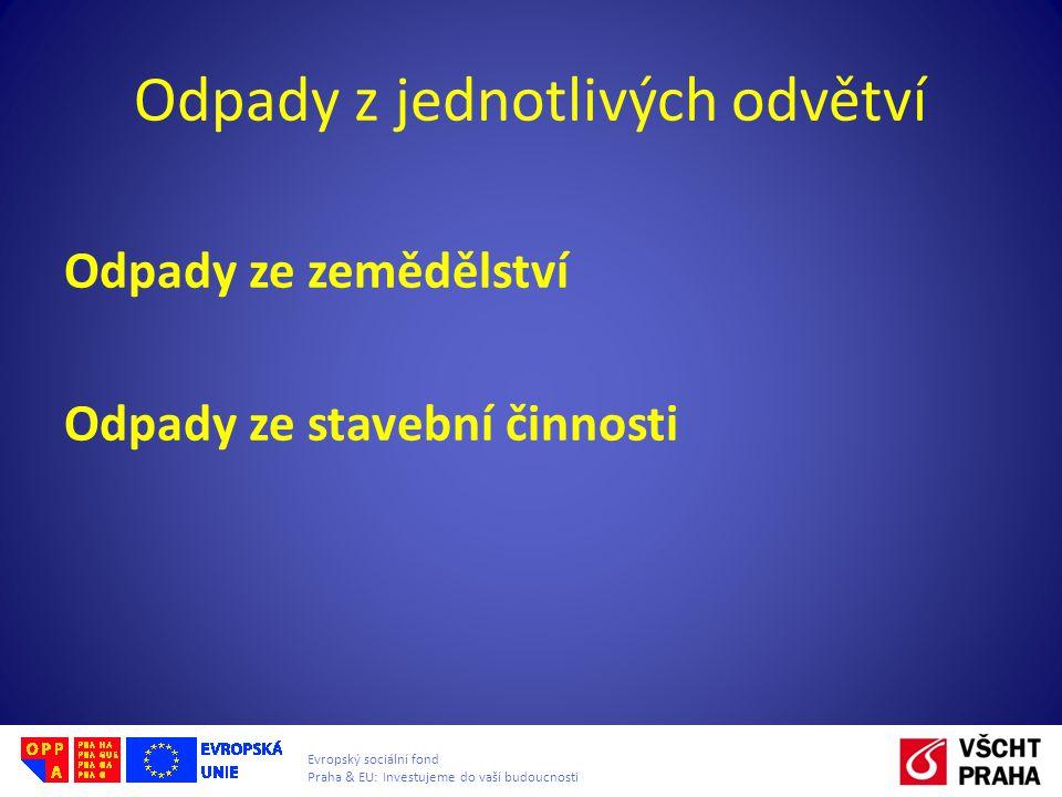 Evropský sociální fond Praha & EU: Investujeme do vaší budoucnosti Odpady z jednotlivých odvětví Odpady ze zemědělství Odpady ze stavební činnosti
