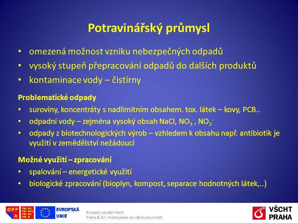 Evropský sociální fond Praha & EU: Investujeme do vaší budoucnosti Potravinářský průmysl • omezená možnost vzniku nebezpečných odpadů • vysoký stupeň přepracování odpadů do dalších produktů • kontaminace vody – čistírny Problematické odpady • suroviny, koncentráty s nadlimitním obsahem.