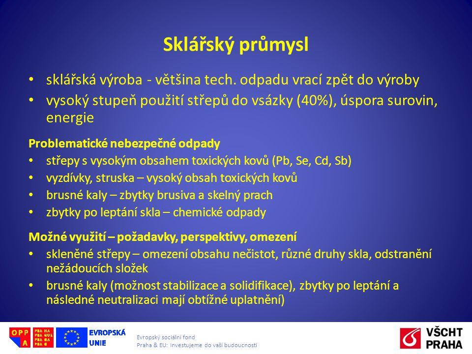 Evropský sociální fond Praha & EU: Investujeme do vaší budoucnosti Sklářský průmysl • sklářská výroba - většina tech.