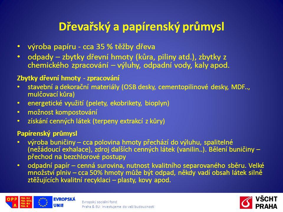 Evropský sociální fond Praha & EU: Investujeme do vaší budoucnosti Dřevařský a papírenský průmysl • výroba papíru - cca 35 % těžby dřeva • odpady – zbytky dřevní hmoty (kůra, piliny atd.), zbytky z chemického zpracování – výluhy, odpadní vody, kaly apod.