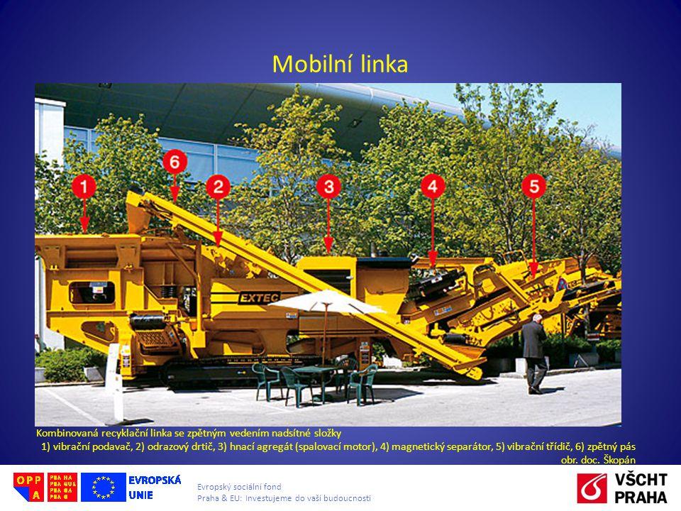 Evropský sociální fond Praha & EU: Investujeme do vaší budoucnosti Mobilní linka Kombinovaná recyklační linka se zpětným vedením nadsítné složky 1) vibrační podavač, 2) odrazový drtič, 3) hnací agregát (spalovací motor), 4) magnetický separátor, 5) vibrační třídič, 6) zpětný pás obr.