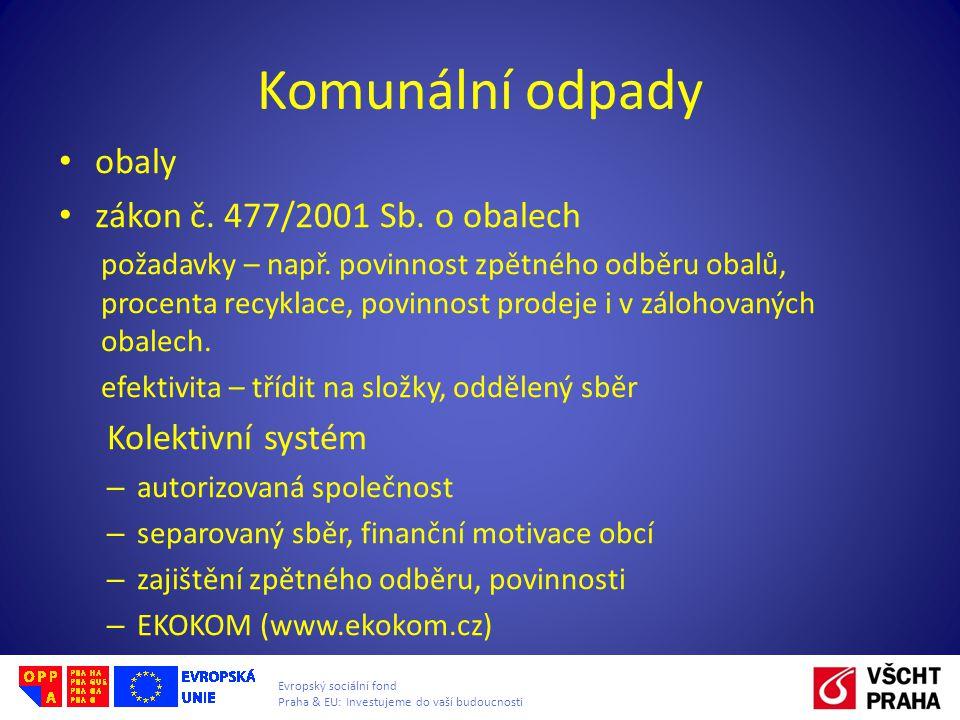Evropský sociální fond Praha & EU: Investujeme do vaší budoucnosti Komunální odpady • obaly • zákon č.